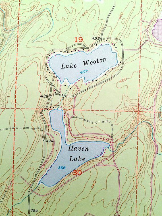 Antique Lake Wooten Washington 1953 Us Geological Survey