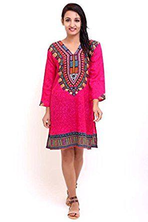 f20e6f2a745e Tunic Kaftan Top Midi Dress Ladies Womens Casual Tribal V Neck Ethnic Print  Sleepwear Nightwear Summer New Gift Size 10 12 14 16 18
