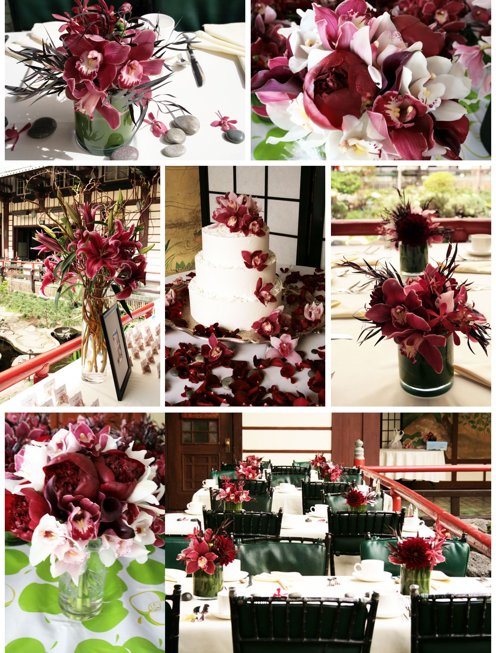 Asian inspired burgundy wedding flowers