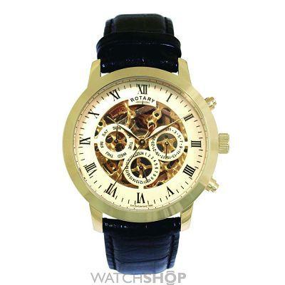 Men s Rotary Vintage Skeleton Automatic Watch 3594157e566