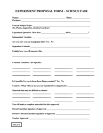 Proposal Form  Proposal    Proposals And Science Fair