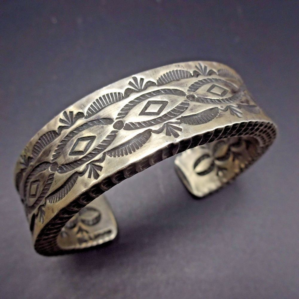 c6e6fbb543c Vintage NAVAJO Heavy Gauge Hand Stamped Sterling Silver Cuff BRACELET 106g # Cuff