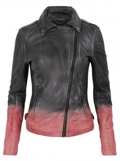 Muubaa Tehmi Dip Dyed Leather Biker Jacket in Black/Coral