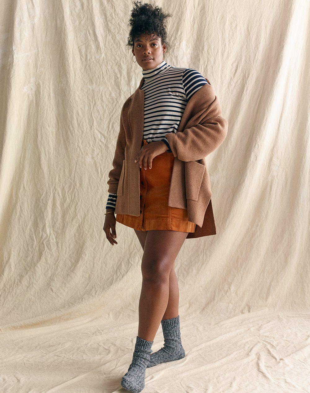 madewell spencer sweater-jacket worn with wide-sleeve turtleneck ... 3470dbbf0