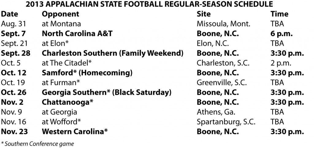 Appalachian state 2013 football schedule appalachian