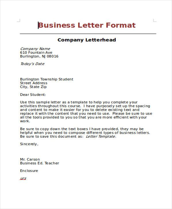 doc standard business letters format letter block enclosures full - standard business letters format