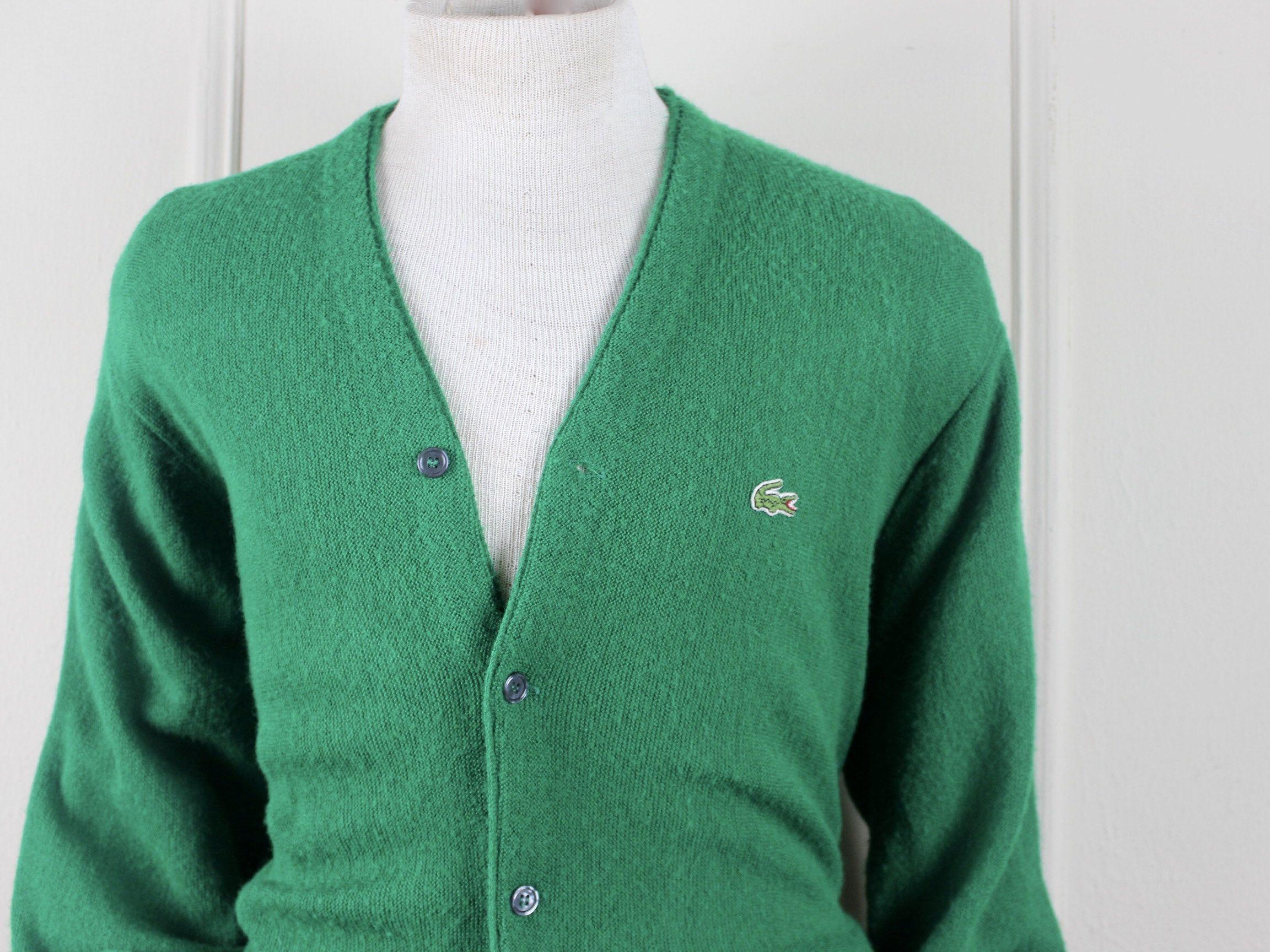 14 Zip Up Sweater Men/'s Large Vintage IZOD Sweater, Vintage 90s Sweater Green Collared Sweater Green Sweater