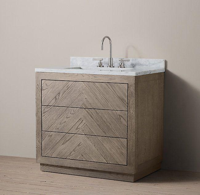 Herringbone Single Vanity Vanity Herringbone Wood Floor