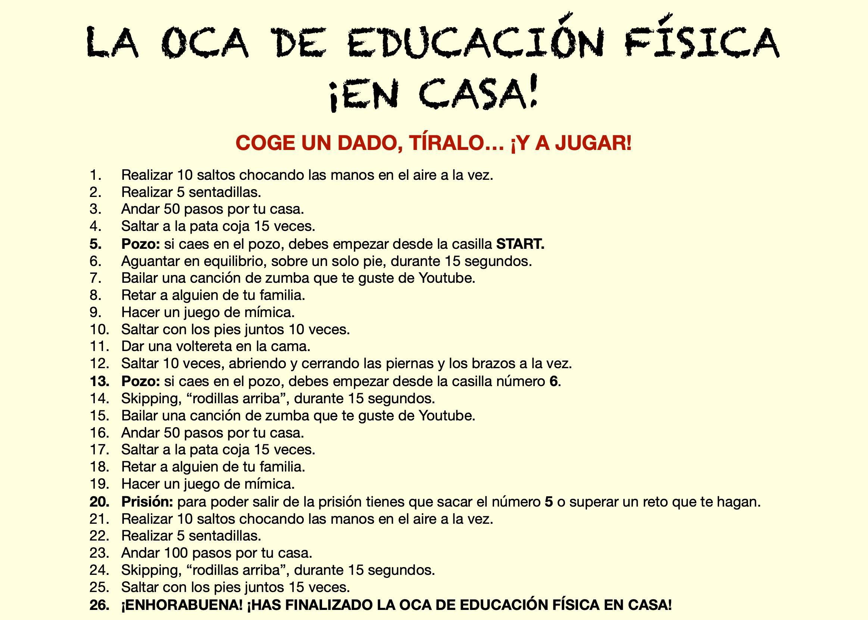 El Juego De La Oca Educación Física Trabajo Educacion Fisica Educacion Fisica Ejercicios De Educacion Fisica