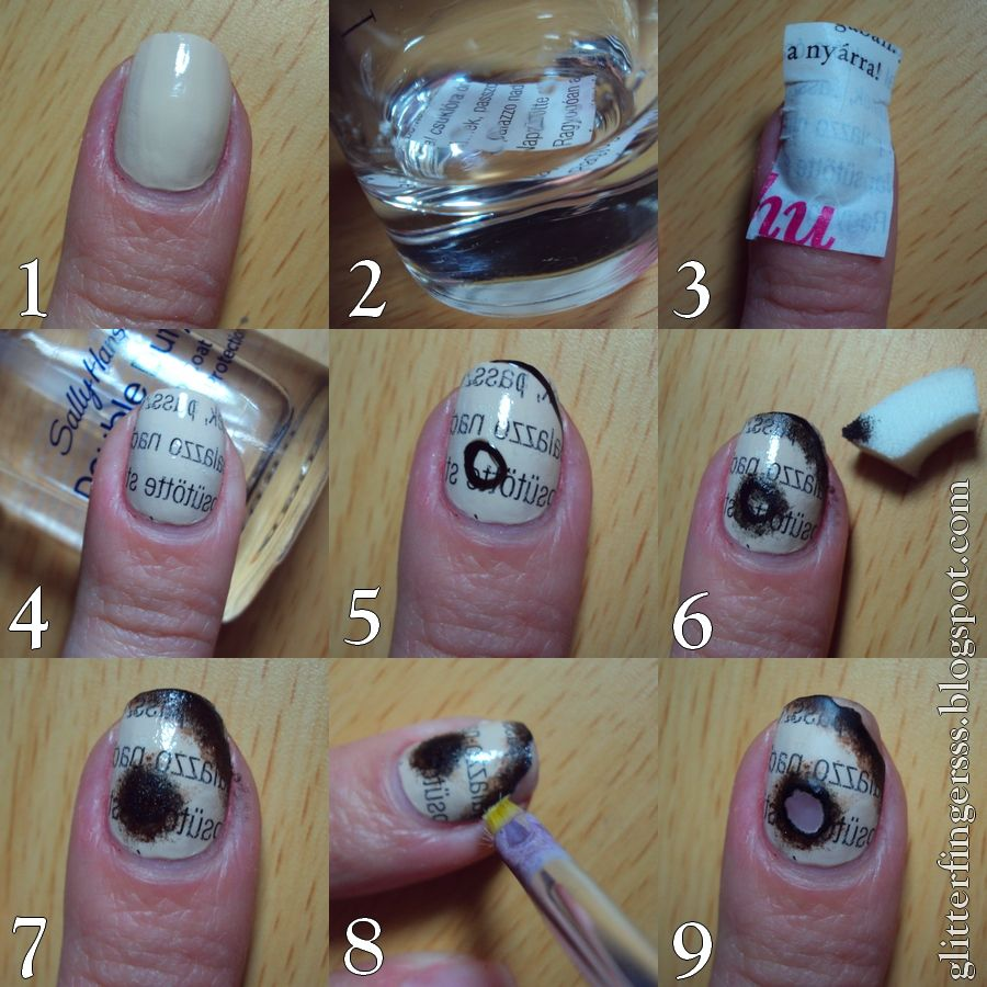 Httpglitterfingerlexatumblrpost68663946757tutorial paint your nails with a light nude polish wait until its completely dries put a piece of newspaper in alcohol for 20 secs place the newspaper on your prinsesfo Image collections