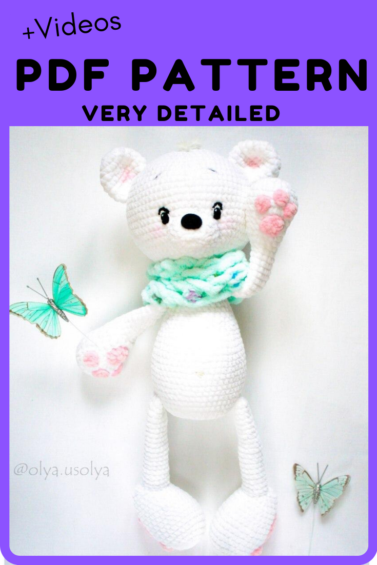 PATTERN: crochet Polar Bear, PDF ENGLISH, amigurumi design, baby gift toy, stuffed toy tutorial