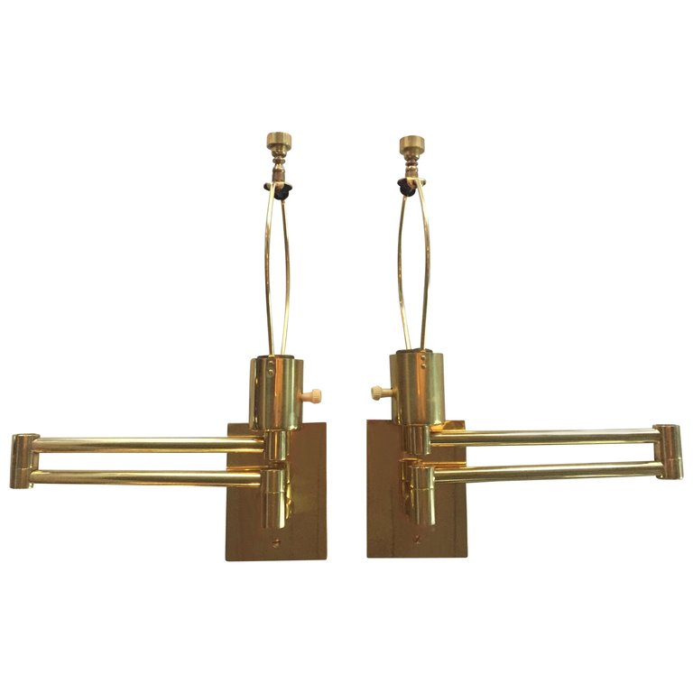 Pair Of Vintage Classic Hansen Brass Swing Arm Wall Sconces Swing Arm Wall Sconce Victorian Wall Lighting Modern Wall Lights