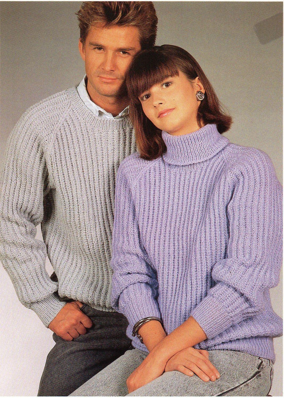Womens   Mens Ribbed sweaters Knitting Pattern PDF Fishermens Rib Jumper  32-42