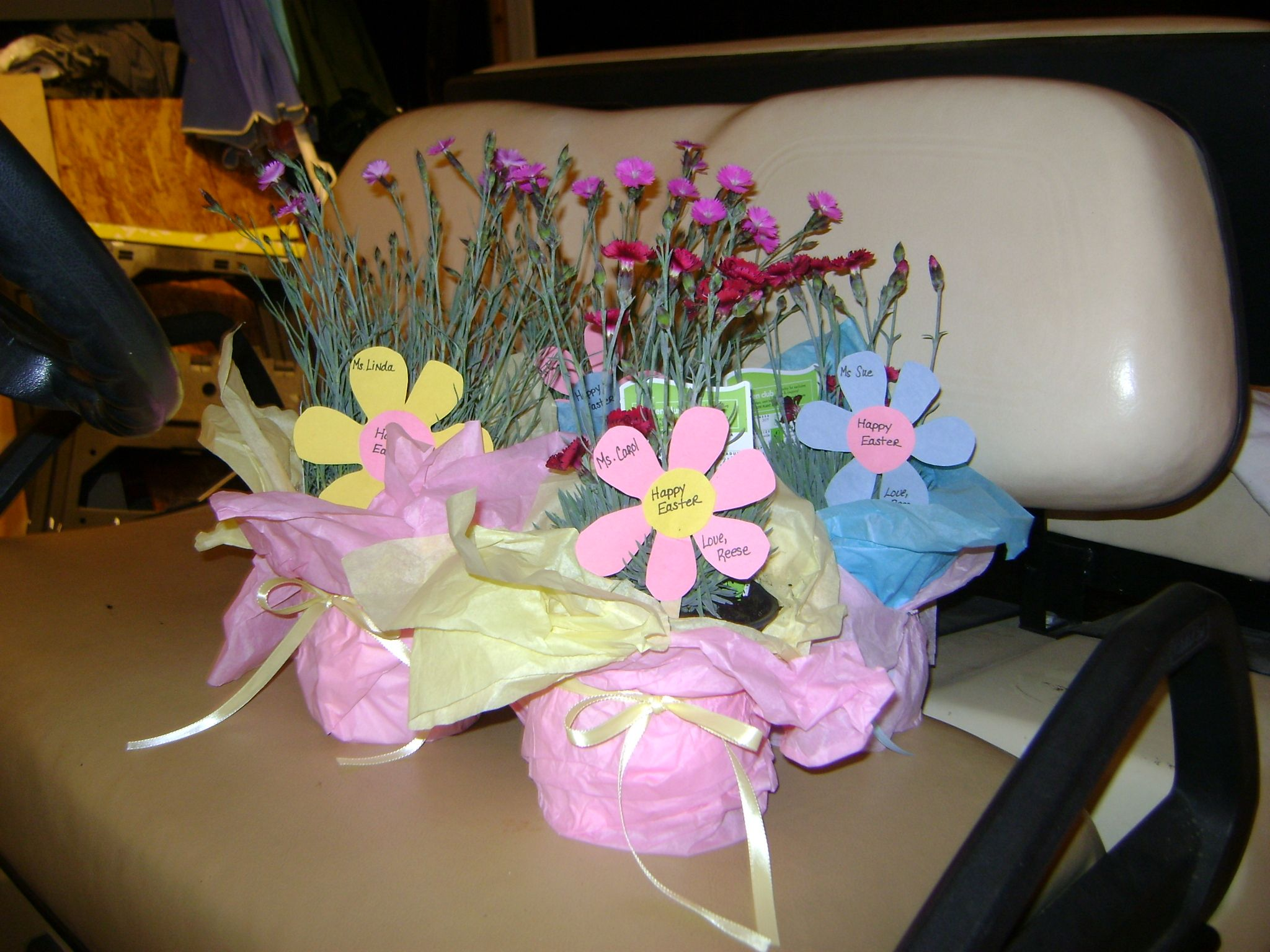 Easter gifts for teachers perennials wrapped in tissue paper easter gifts for teachers perennials wrapped in tissue paper made flowers tags out of negle Gallery