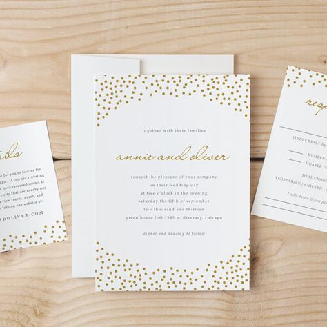 Wedding Invitation Template Download - Gold Dots - Word or Pages - ms word invitation templates free download