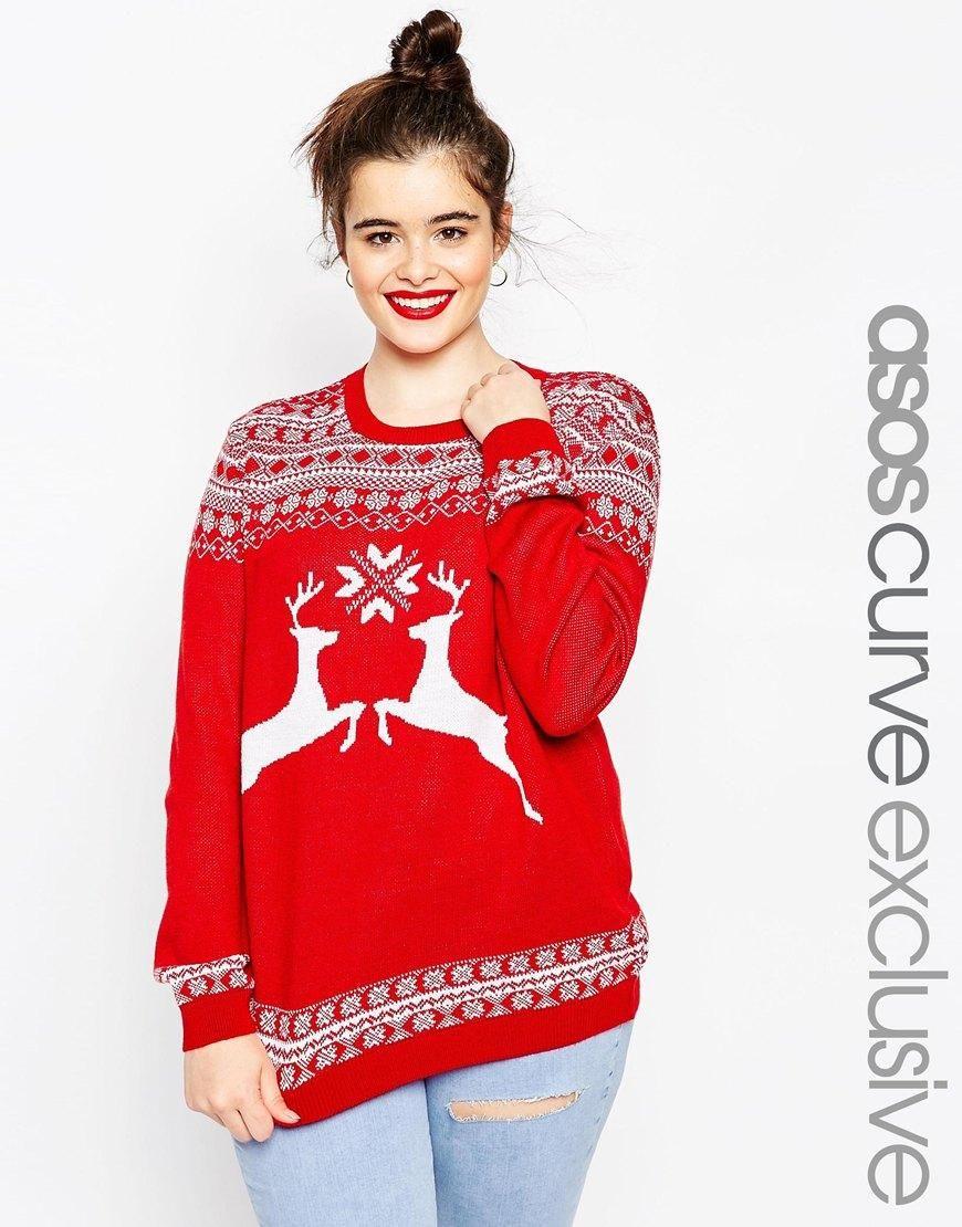 ASOS CURVE Holidays Sweater in Reindeer Fair Isle at ASOS