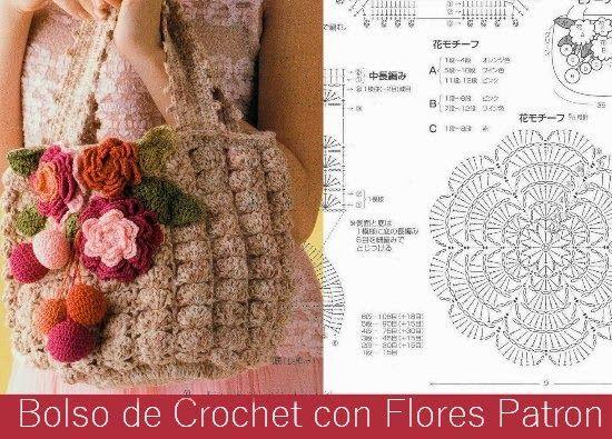 Bolso de Crochet con Flores Patron - Patrones Crochet | Bolsomania ...