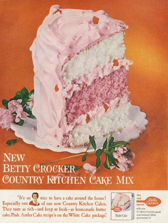 1960 Betty Crocker White Cake Mix Ad Pink Azalea Cake Photo