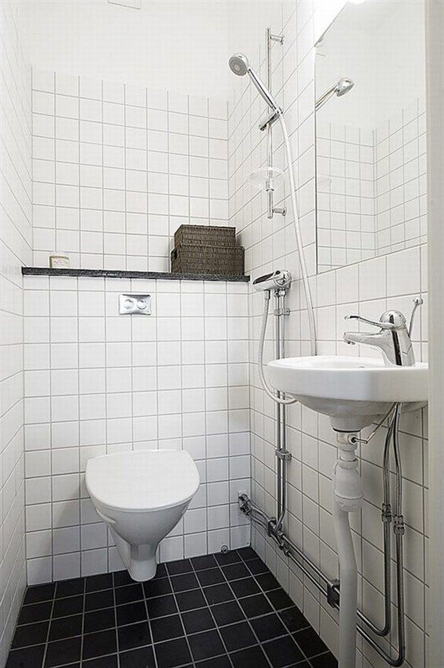 Small Bathroom Ideas With Small White Hanging Toilets Combine With White Checkered Tile Wall And Blac Small Toilet Design Budget Bathroom Remodel Toilet Design