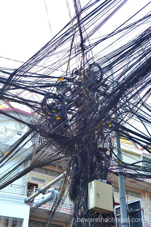 Electrical wires on the streets of #PhnomPenh, Cambodia. - www.bewarethecheese.com #photography #asia #travel