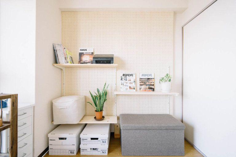 賃貸diy ディアウォールを使った有孔ボードの壁と棚柱を使った棚の作り方 99 Diy Diyブログ インテリア 収納 インテリア 家具 棚