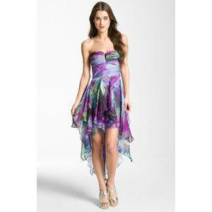 Strapless Handkerchief Hem Dress