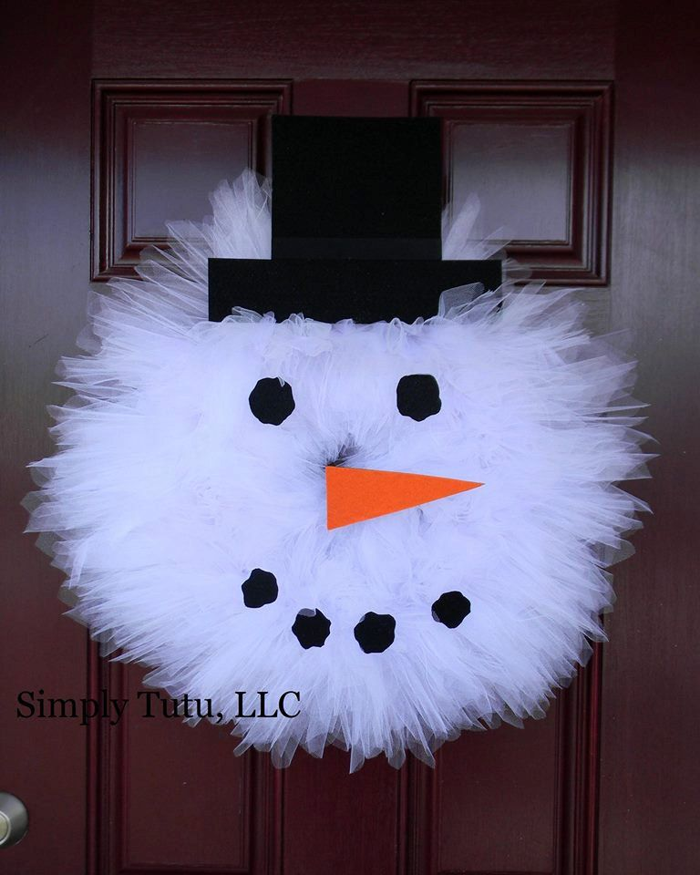 Snowman Tulle Wreath by SimplyTutu on Etsy   crafts   Pinterest ...