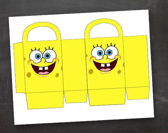 Spongebob Birthday Party Goodie Box Bag Printable Template DIY Not