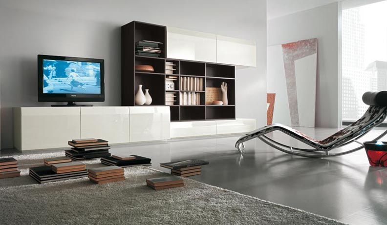 Modern TV Wall Units for Living Room Designs - Image 06 : White ...