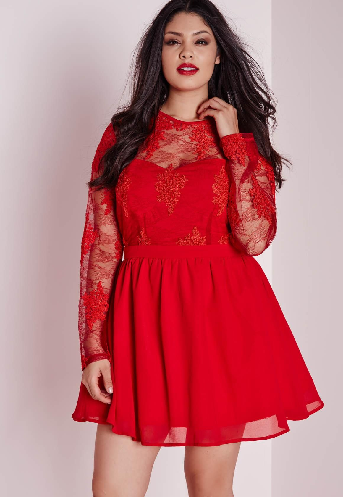 Plus Size Lace Prom Dress Red - Plus Size - Plus Size Dresses ...