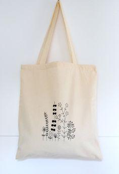 Precioso bolso de compras de algodón estampado a mano por Arigato-Bcn en Ets …