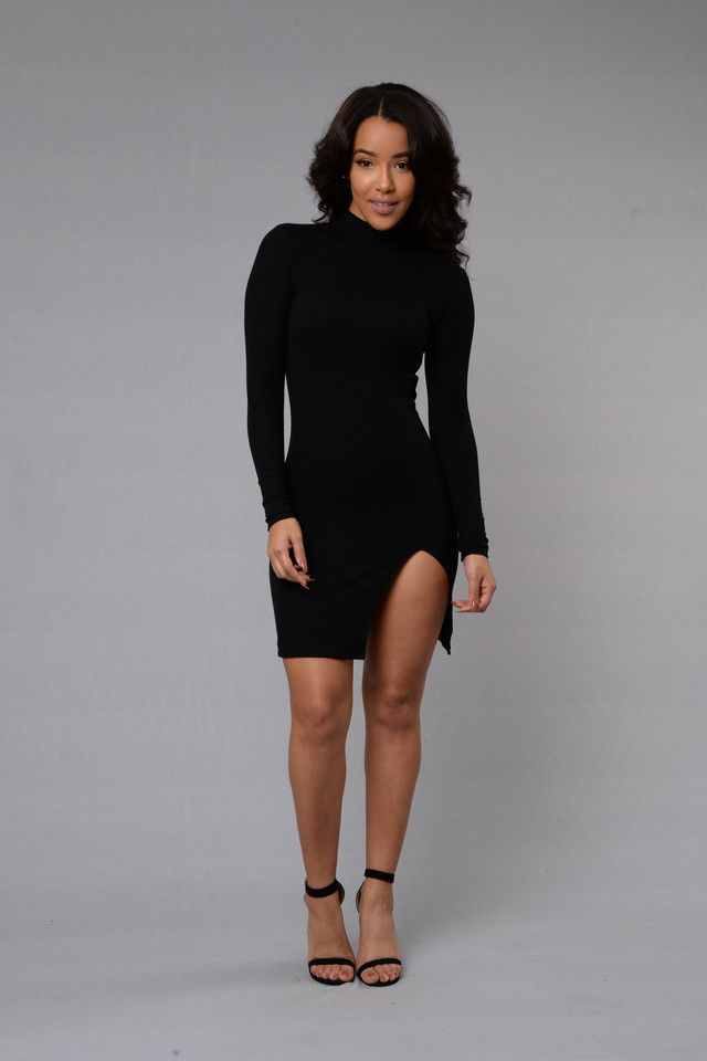 - Available in Black - Long Sleeve - Thigh Slit - Ribbed - Made in USA - 48% Rayon 48% Polyester 4% Spandex