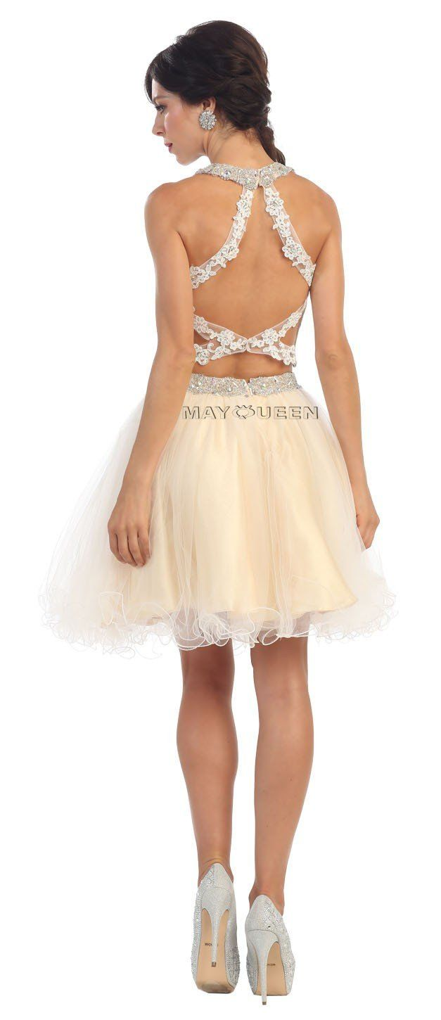 Mq twopiece embroidered illusion neckline with tulle skirt