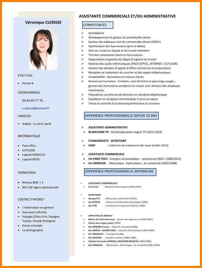 Telecharger Exemple De Cv D Un Commercial Cv Commerciale Exemple Cv Cv Assistante Commerciale