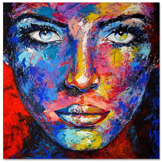 Peintures Acryliques Kazoart Galerie D Art En Ligne Portrait Abstrait Peinture Pop Art Toiles De Peinture