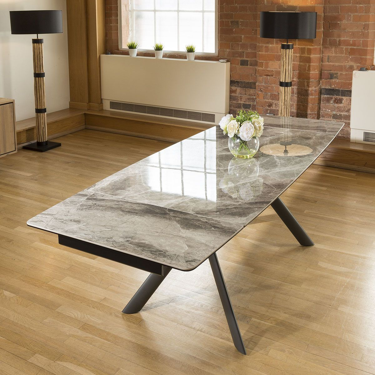 Dining Table Italian Ceramic Grey Marble Style Extending 1600