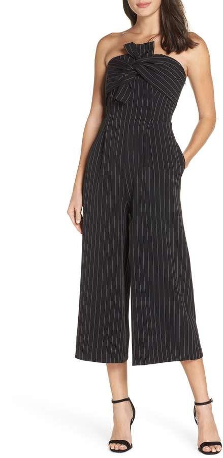 a46fb57b7785 Chelsea28 Pinstripe Tie Front Jumpsuit | Products | Jumpsuit, Petite ...
