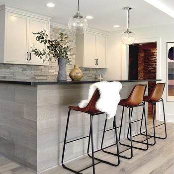 Gray Oak Kitchen Island With Leather Counter Stools