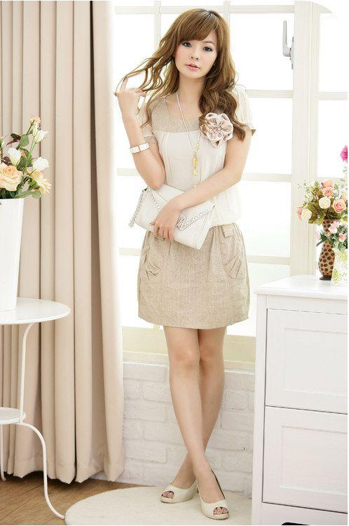 JK1171 Almond Korean Fashion Dress Short Sleeve Malaysia Online ...