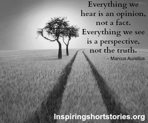 Everything We Hear Is An Opinion Not A Fact Everything We See Is A Perspective Not The Truth Inspirational Short Stories Perspective Quotes Perspective