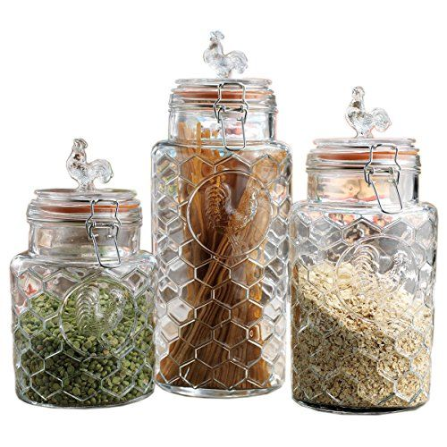 63cba467084c Set of Three (3) Round Clear Glass Airtight Rooster Canisters with ...