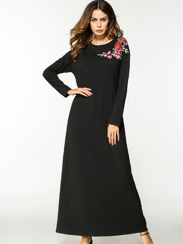 dee868ba5b Casual Floral Embroidered Loose Long Sleeve O-neck Maxi Dress ...