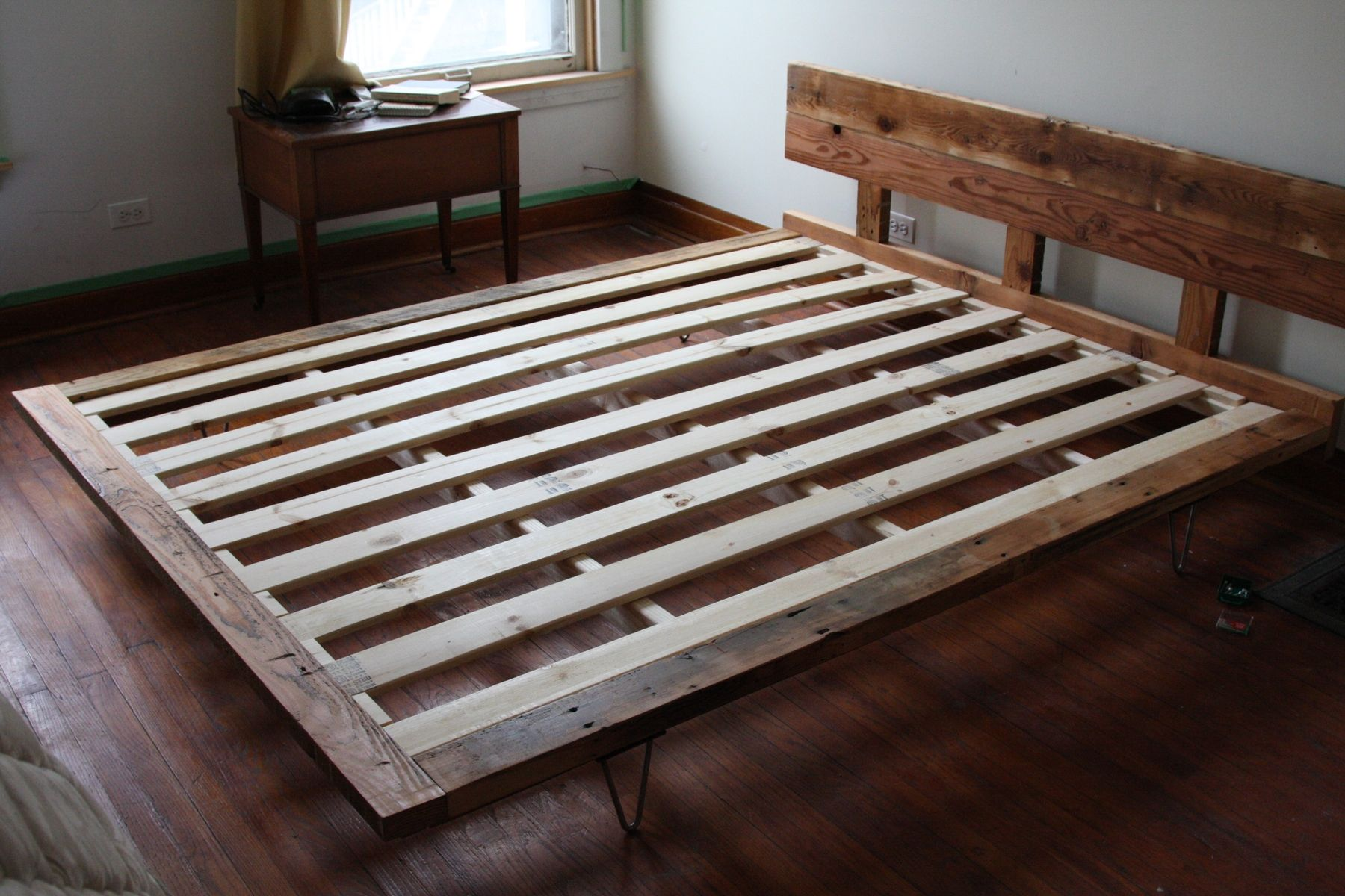 Reclaimed Wood Bed Frame With Steel Hairpin Legs Over At