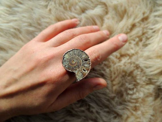 Amonite electroformed ring 7.75 Us size fossil ring by MARIAELA