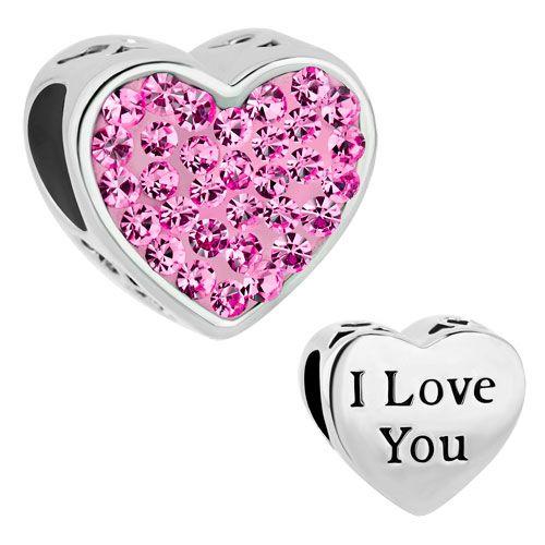 Pugster Pink Silver 1 Mom Baby Love Crystal European Bead Fit Charm Bracelet   eBay