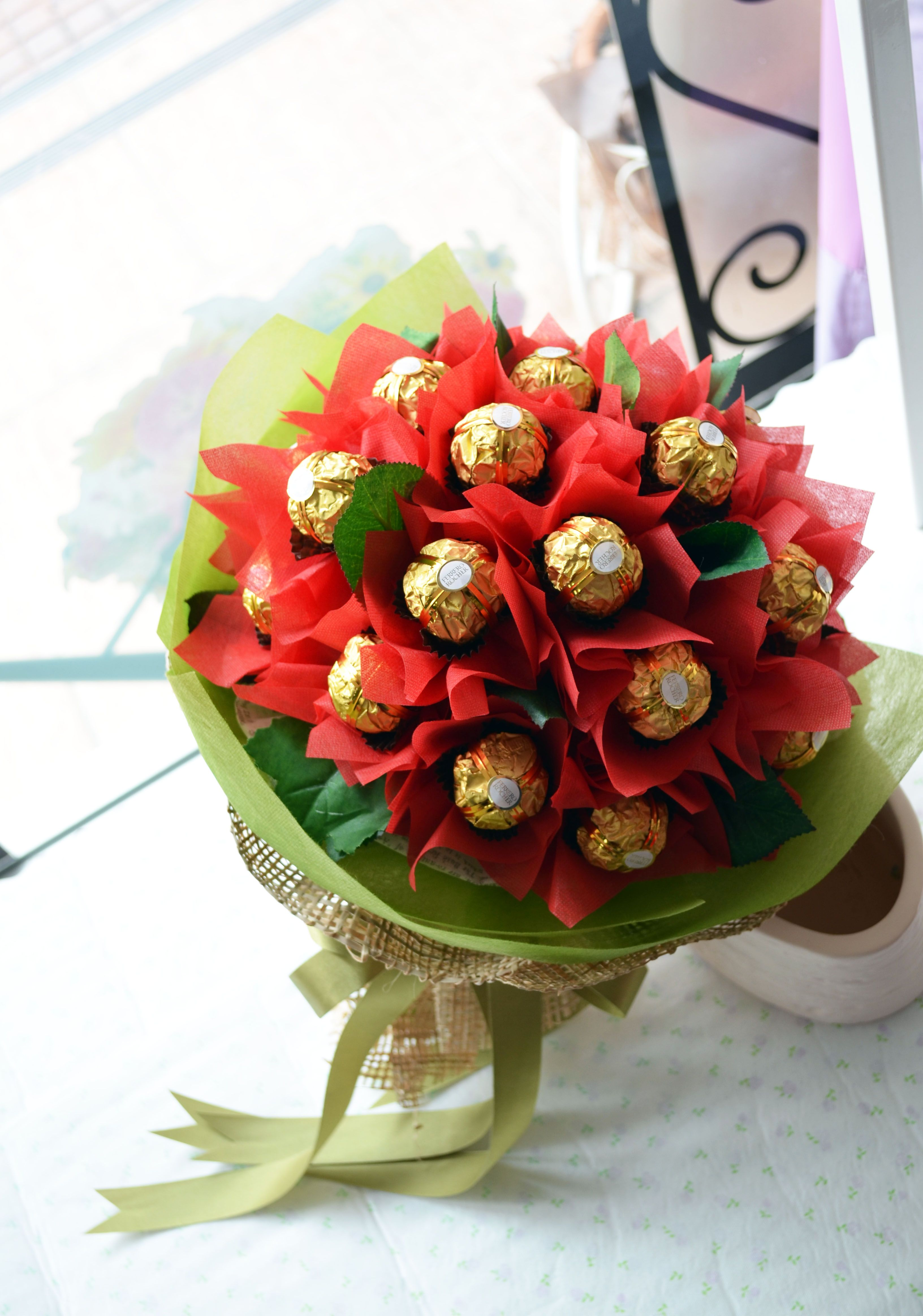 chocolate #candy #bouquet with ferrero rocher + red paper flowers ...