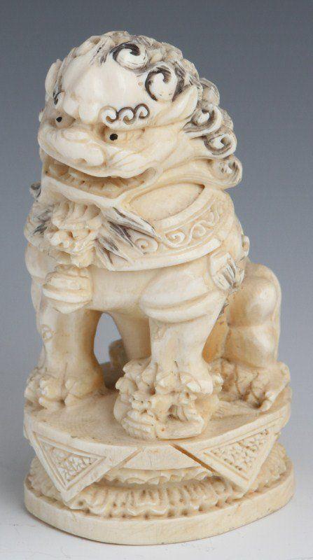Japanese Carved Ivory Okimono Foo Dog Signed On Foo Dogs And
