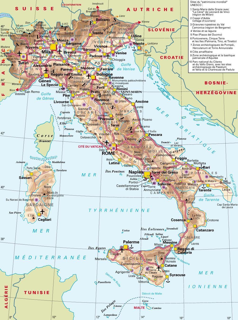 Bien connu Carte de l'Italie 1 360 km du nord au sud | ITALIE | Pinterest  LH51