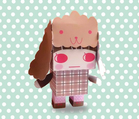 DIY  - Paper Toy Box  - Girl with Poodle Hat- Printable PDF 300dpi digital file