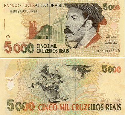 Brazil 5000 Cruzeiros Reais 1993 Com Imagens Notas Cruzeiro